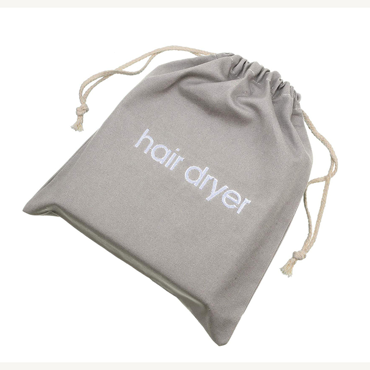 Custom canvas gift hotel travel drawstring hair dryer bag