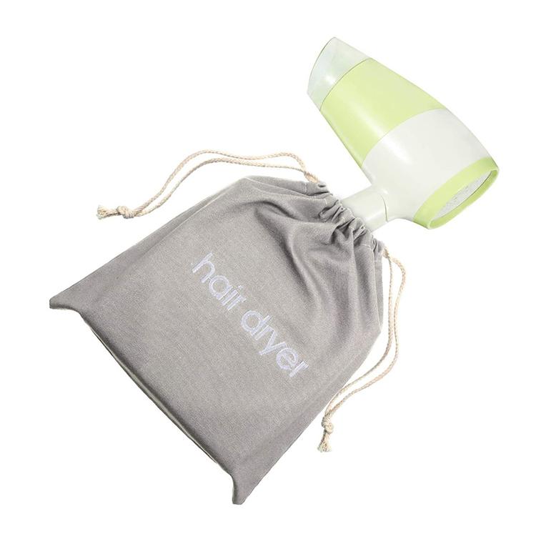 Custom canvas gift hotel travel drawstring hair dryer bag