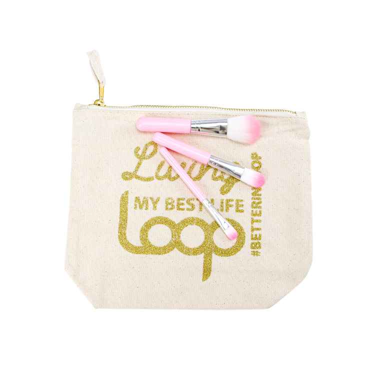 Free sample custom wholesale canvas makeup brush bag gold logo zipper cosmetic bag