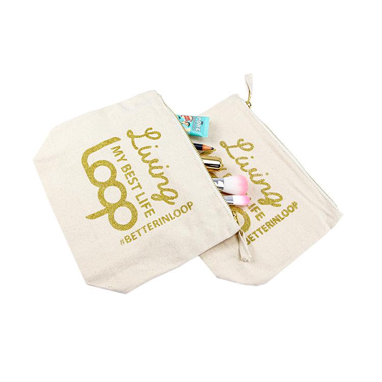 Free sample custom wholesale canvas makeup brush bag gold logo zipper cosmetic bag