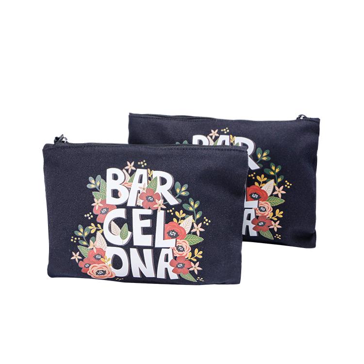 Custom zipper black canvas cosmetic toiletry bag makeup brush bag