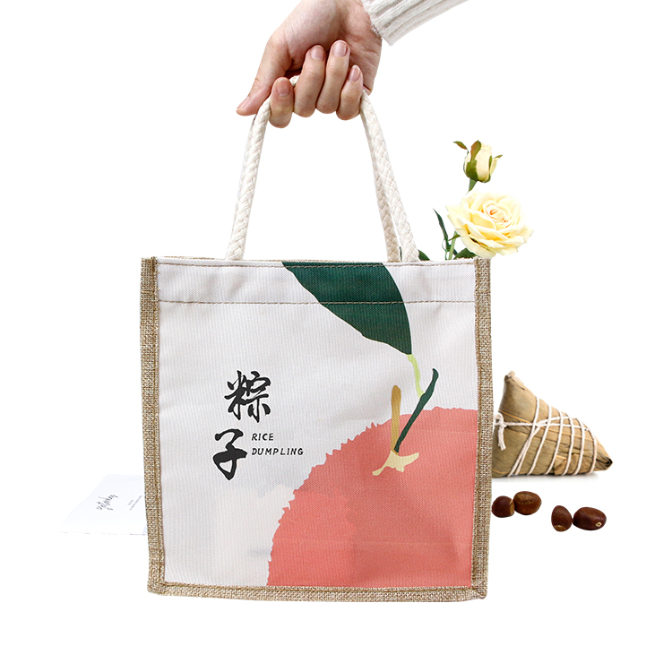 Faux jute shopping bag with zipper
