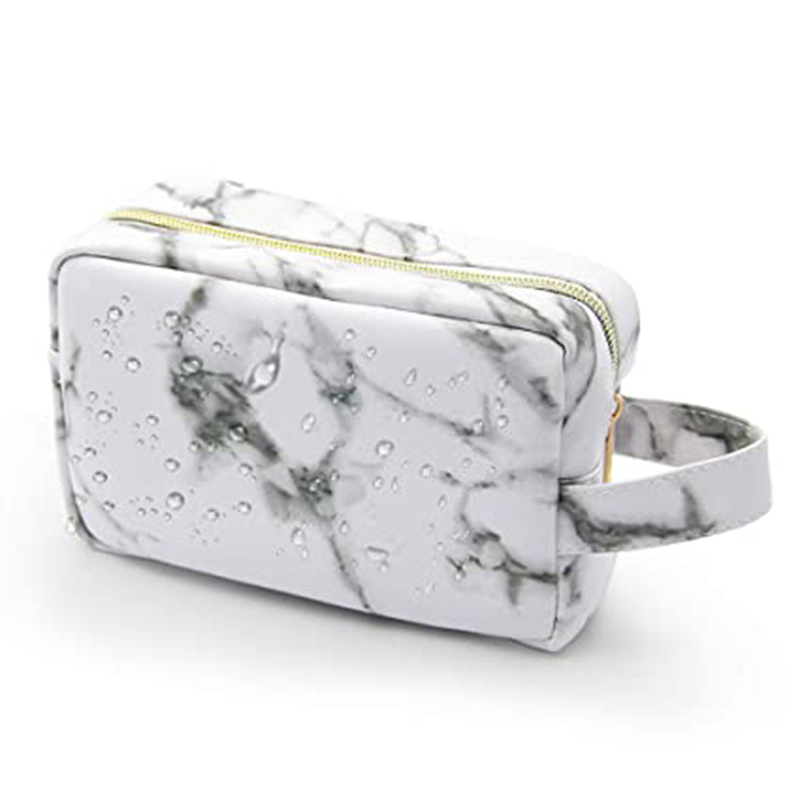 Zipper pu leather toiletry bags with handle