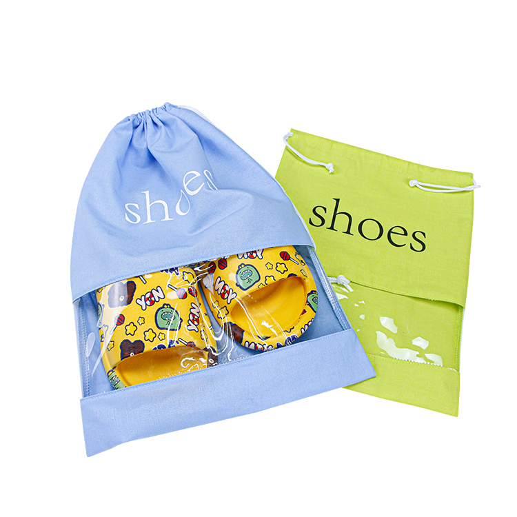 Travel drawstring shoe bag with pvc window