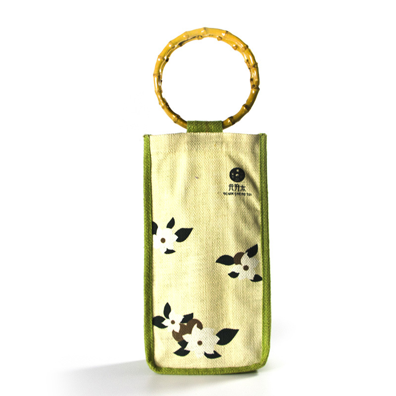 PVC window wine jute bag with bamboo handles