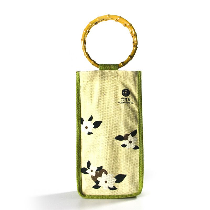 Jute bag with bamboo handles