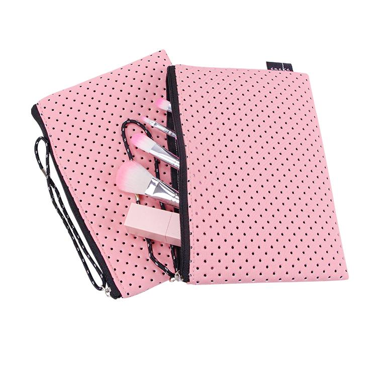 Custom girls pink makeup bag lipstick brush zipper cosmetic bag with handle