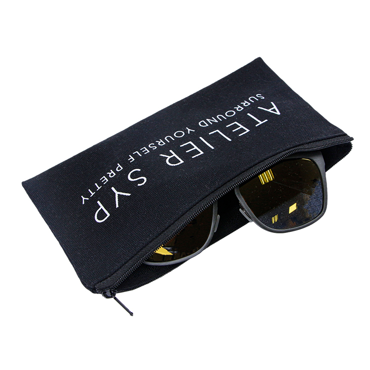 Custom black canvas zipper bag storage glasses bag