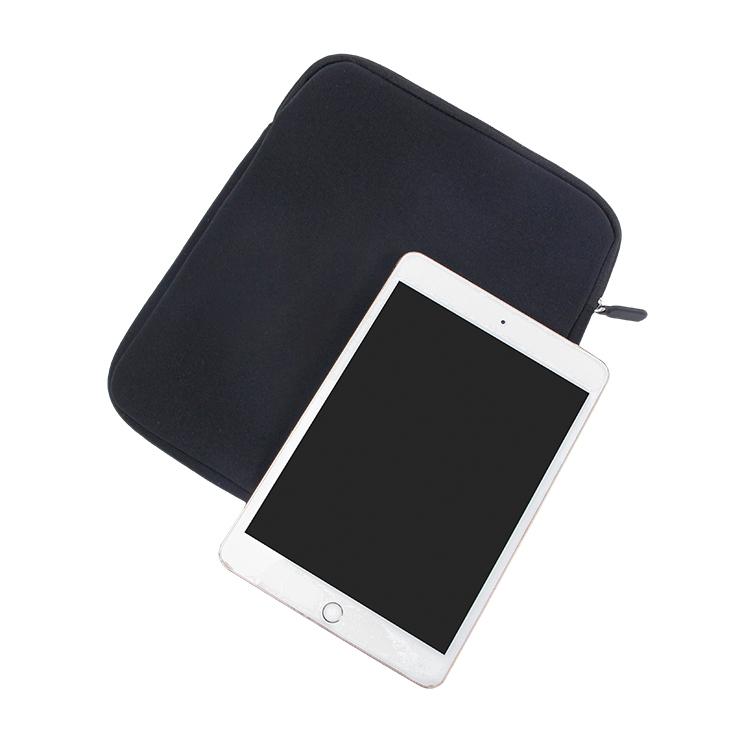 Custom black zipper neoprene tablet bag with pockets