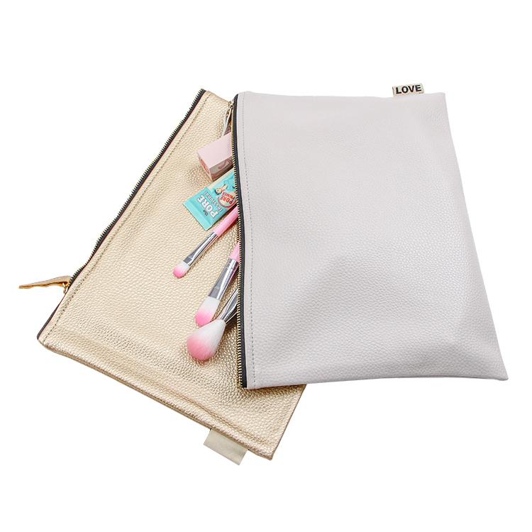 Wholesale clutch zipper gold leather PU bag brush cosmetic travel makeup bag