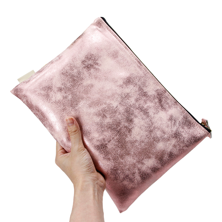 Custom plain rose gold PU leather cosmetic bag clutch girls makeup bag