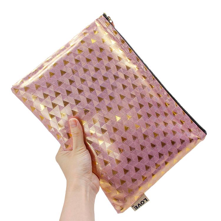 Wholesale litchi pattern pu zipper bag packing cosmetic brush makeup tools bag