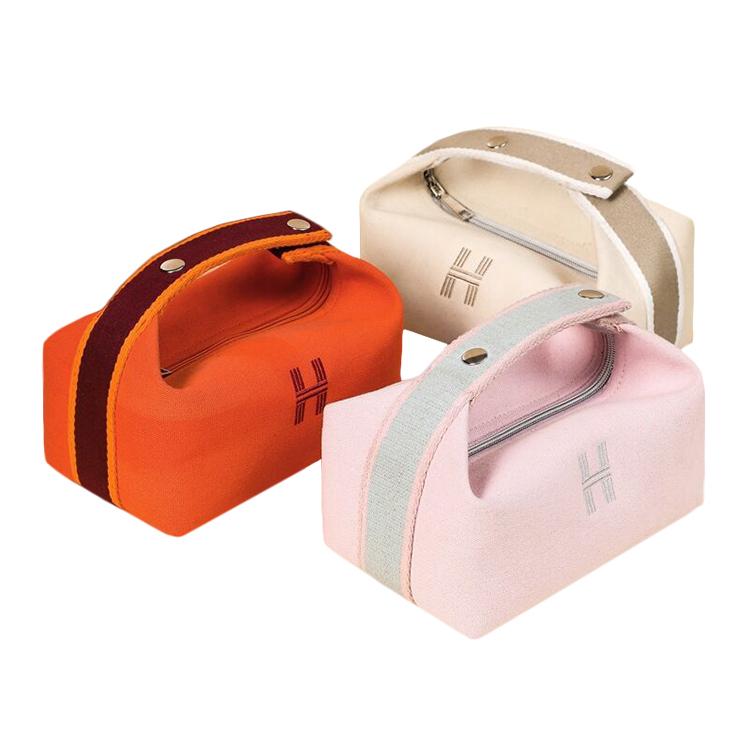 Custom zipper canvas cosmetic box bag tote bag makeup