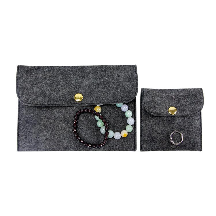 Custom logo felt sleeve pouch bracelet rings jewelry bag