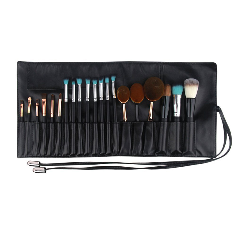 PU leather makeup brushes roll-up pouch for travel