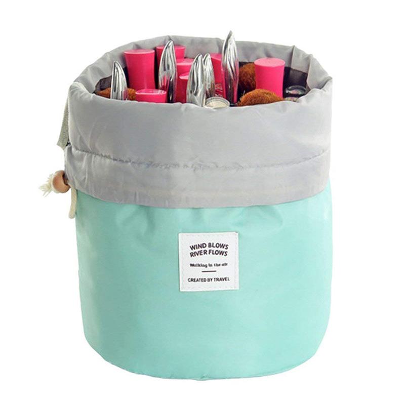 Custom nylon drawstring cosmetic barrel bag round bottom