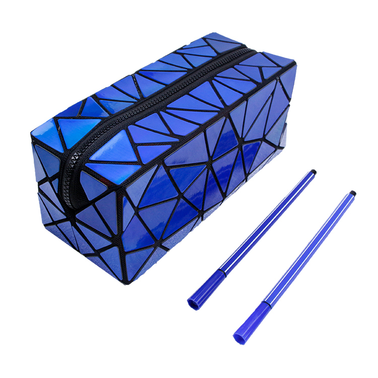 Blue Holographic Geometric Toiletry Case Cosmetic Makeup brush bag