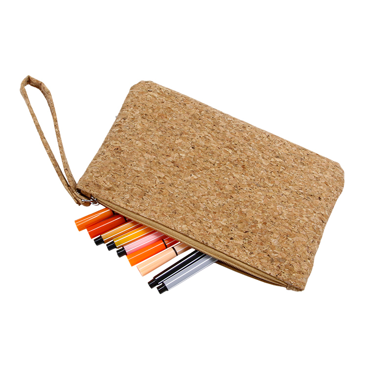 Custom size eco friendly cork zipper bag storage phone gift coin card pouch with handle
