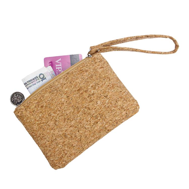 Packing keys cashes zipper cork pouch