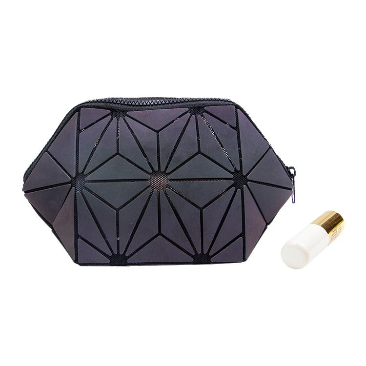 Custom zipper reflective cosmetic toiletry case geometric makeup bag