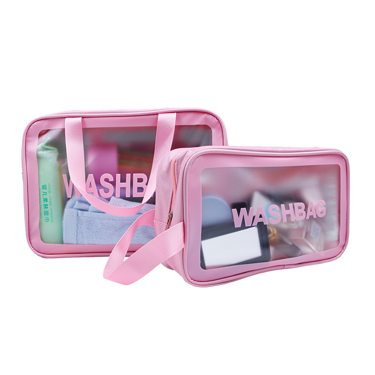 Custom pink pvc toiletry case makeup tote bag with pvc window