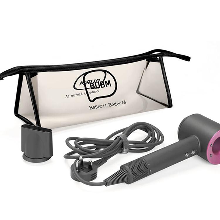 Hair dryer bag clear pvc zipper makeup bag with handle