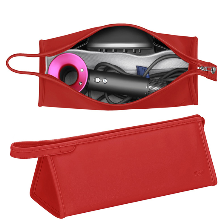 Custom PU leather portable hair dryer carrying bag accessories protection organizer zipper bag