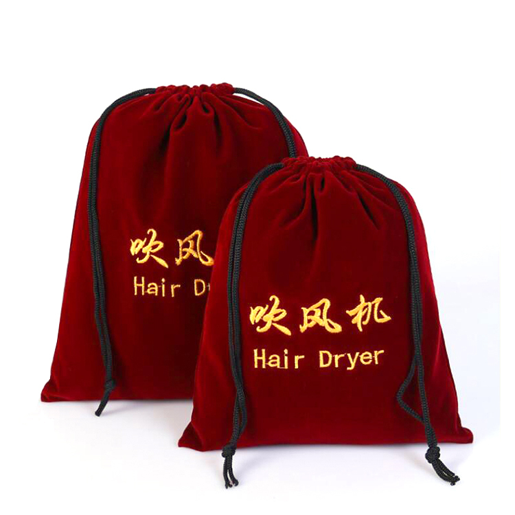 Custom velvet drawstring hair dryer bag gift dust bag