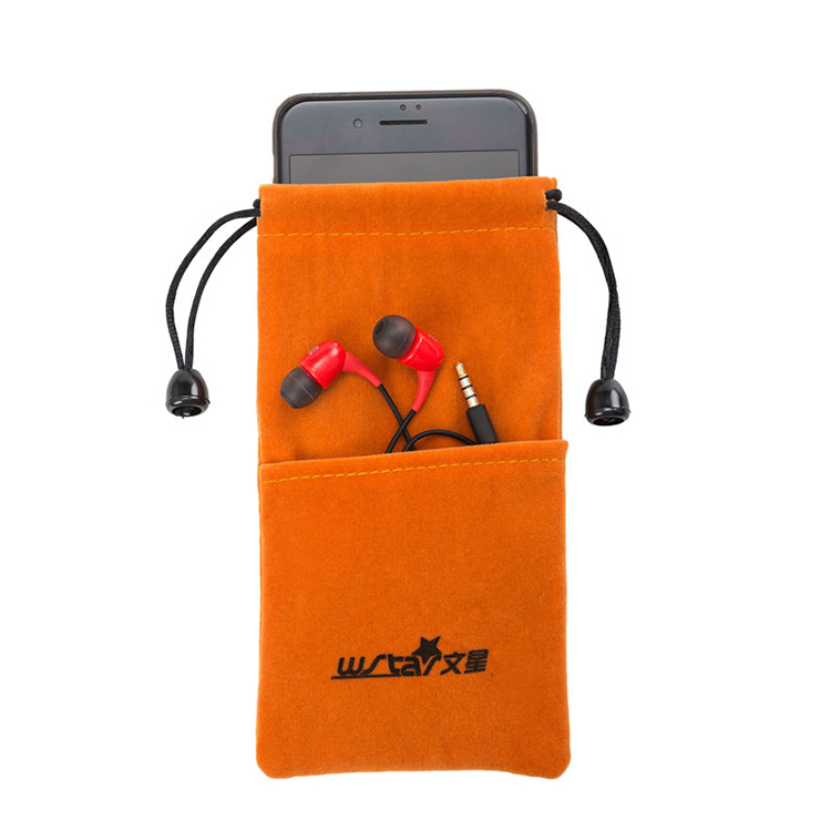 Custom mobile phone velvet pouch drawstring electronic accessories data cable bag