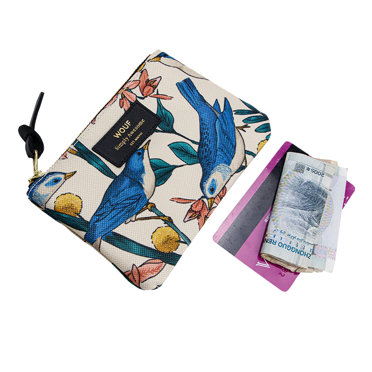 Custom digital printing small coin purse polyester zipper pouch