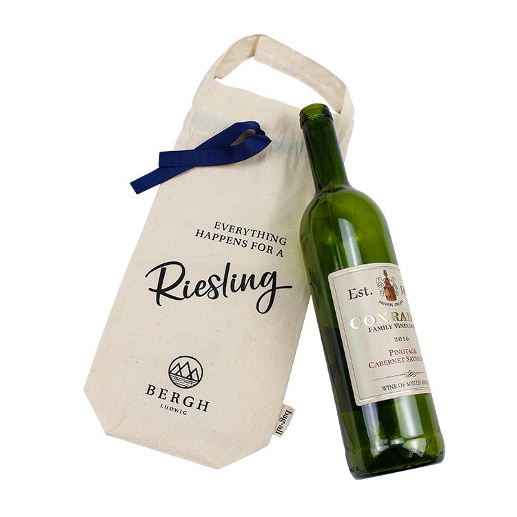 Custom gift wine bag cotton drawstring bag with handle