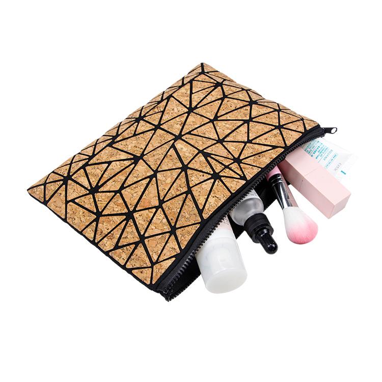 Custom travel cork cosmetic bag brush makeup zipper bag