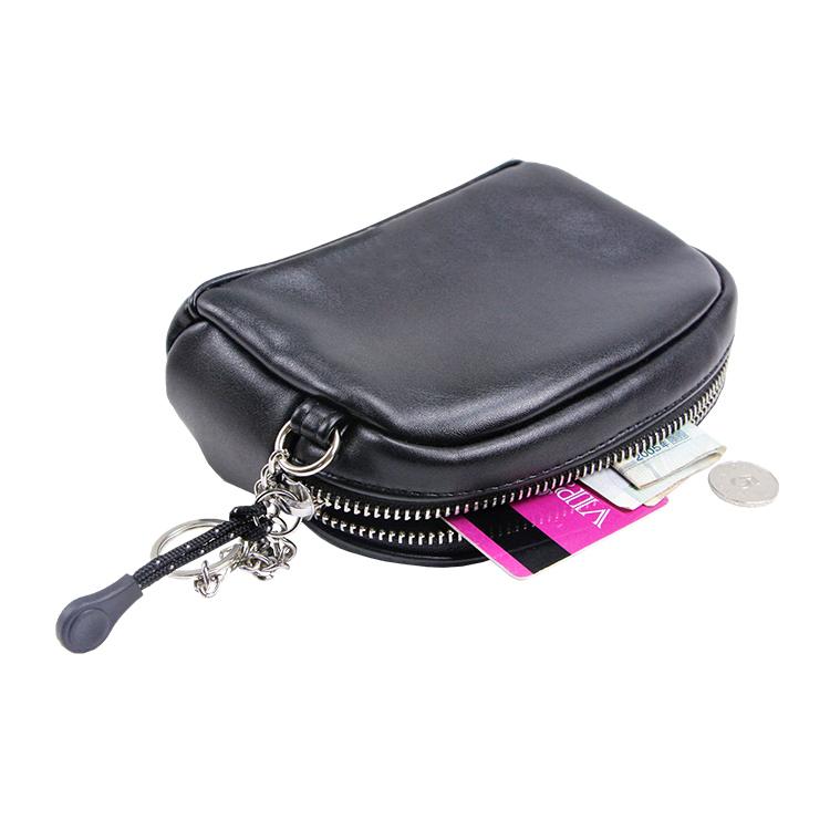 Black PU leather pouch zipper bag