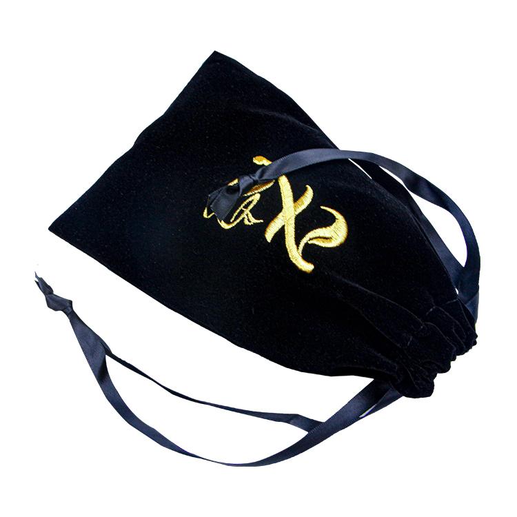 Custom embroidered gold logo black velvet drawstring bag jewelry bracelet pouch