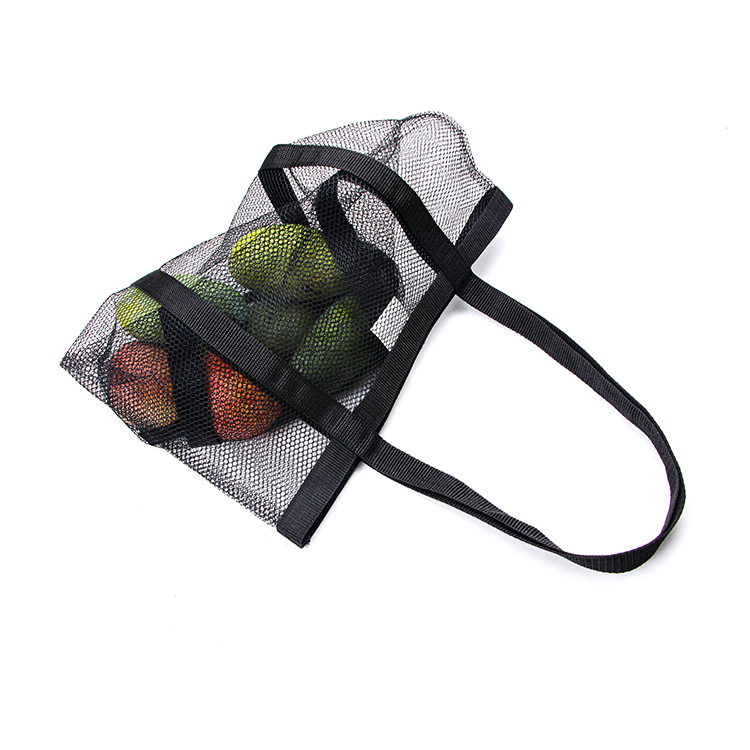 Custom black large summer beach storage toy shopping mesh tote bag market fruit bag handle