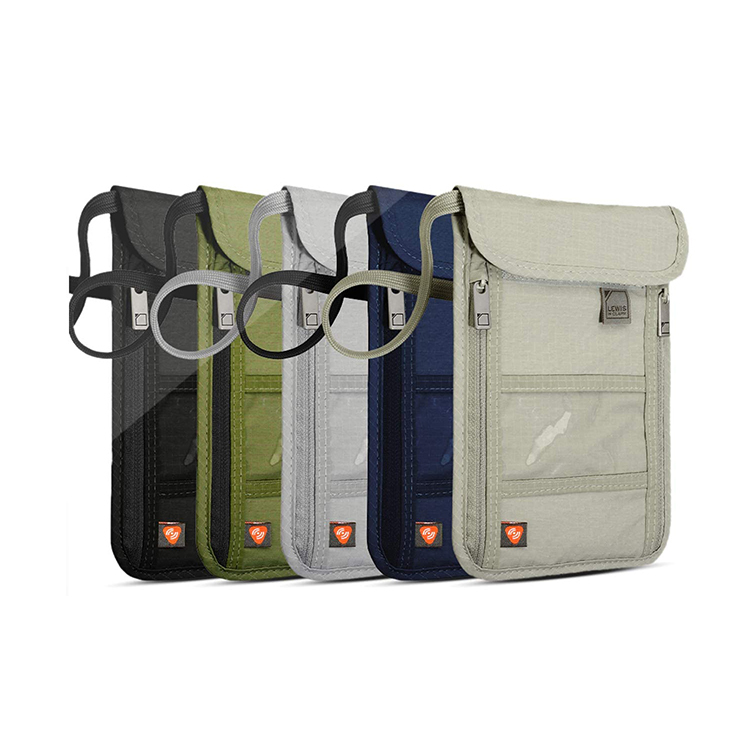 Custom nylon passport bag zipper pockets packing cards coin phone bag