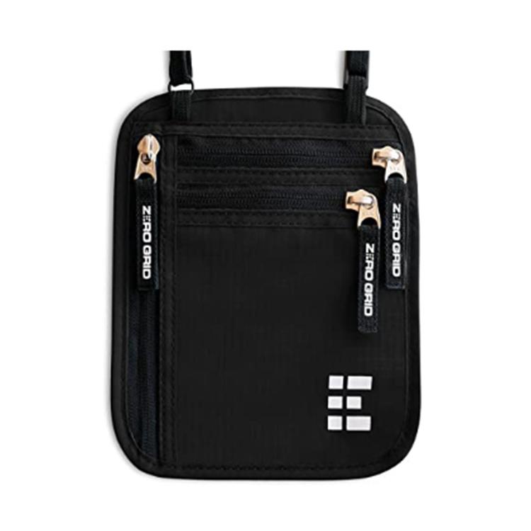 Custom black nylon coin zipper bag packing passport pouch