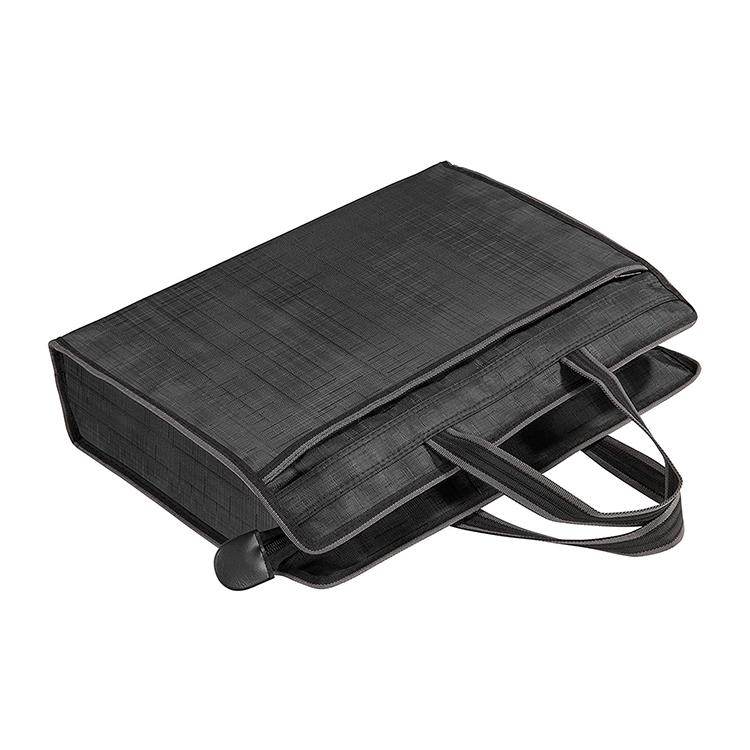 Black waterproof nylon zipper bag document men file travel bag with handle