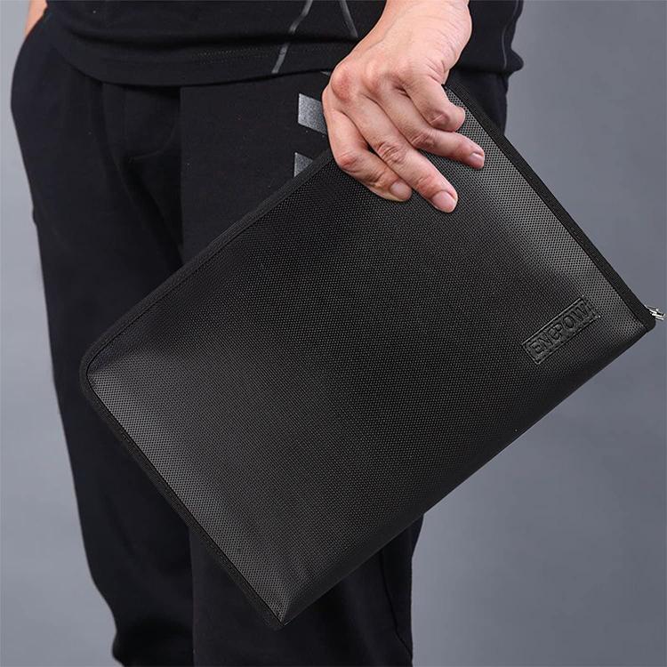 Custom black fireproof document bag file zipper bag
