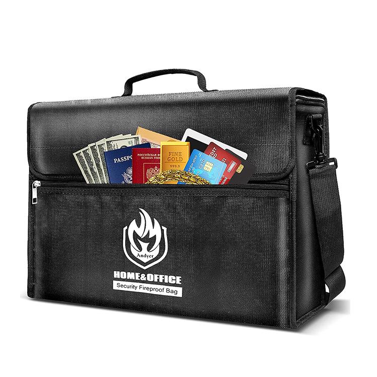 Custom black document fireproof bag travel shoulder bag with handle