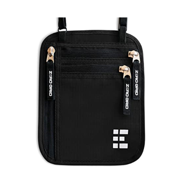 Custom black nylon zipper pouch cash bag