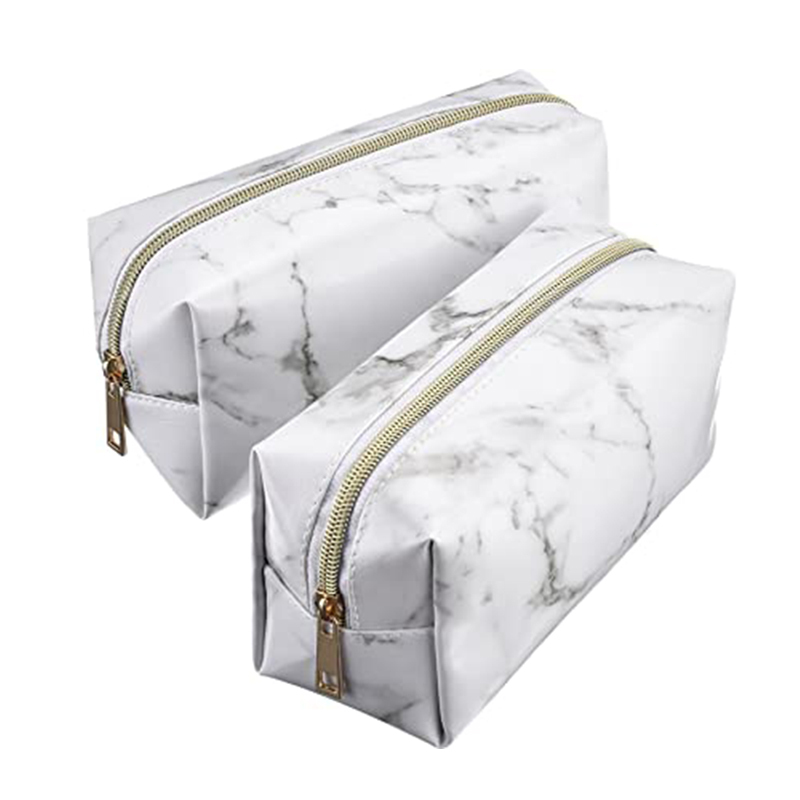 Custom clutch PU leather travel cosmetic makeup marble gift bags
