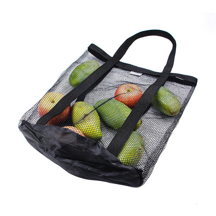 Black mesh market tote bag