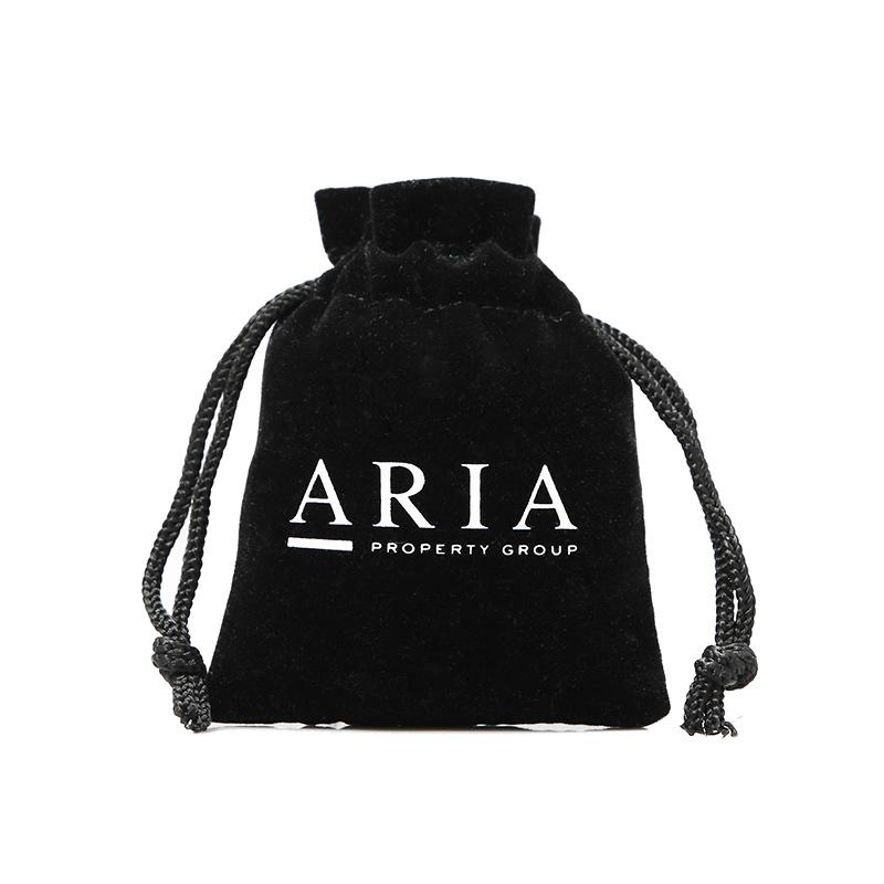 Mini black velvet drawstring bag