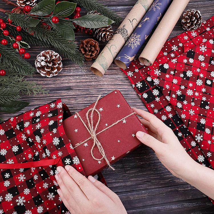 Christmas gift bag snow grid red cotton drawstring bag for kids