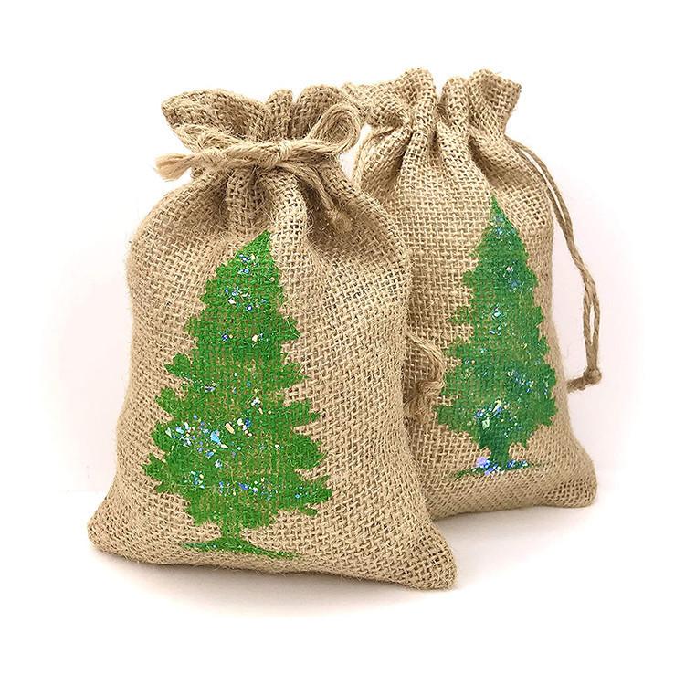 Custom mini christmas jute gift pouch print logo