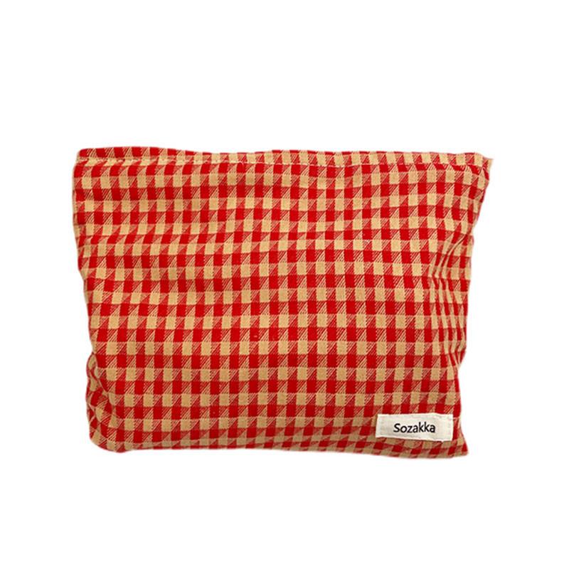 Orange plaid cotton cosmetic bag makeup zipper bag