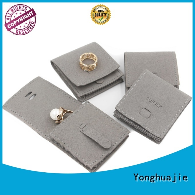 Yonghuajie free sample grey suede bag suede jewelry pouch suede drawstring bag new arrival for school