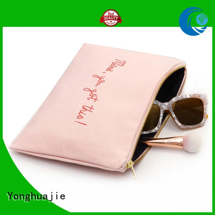 Yonghuajie drawstring grey canvas tote bag canvas dust bag canvas zipper tool bag tassel for cosmetic