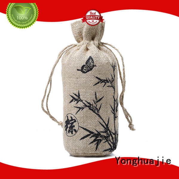 custom colors drawstring jute wine bottle bag with logo